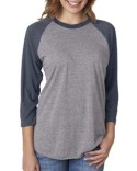 6051 Next Level Unisex Tri-Blend 3/4-Sleeve Raglan Tee