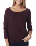 6951 Next Level Ladies' French Terry Raw-Edge 3/4-Sleeve Raglan