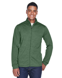 DG796 Devon & Jones Men's Newbury Colorblock Mélange Fleece Full-Zip